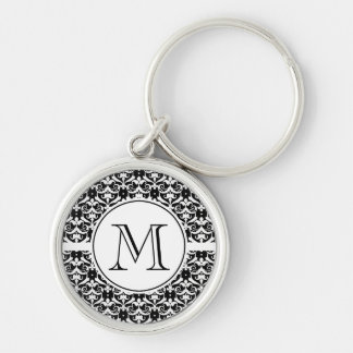 Chic Damask Silver-Colored Round Key Ring