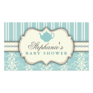Chic Damask & Stripe Baby Shower Tea Favor Tag Business Cards