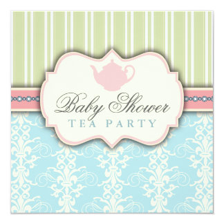 Chic Damask & Stripe Baby Shower Tea Invitation