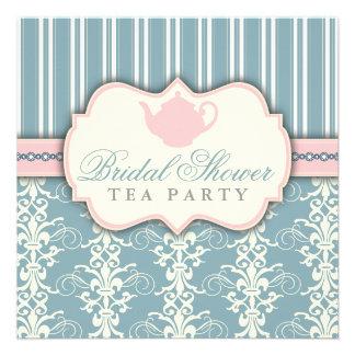 Chic Damask Stripe Bridal Shower Tea Invitation