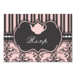 "Chic Damask & Stripe Tea Party RSVP Response Card 3.5"" X 5"" Invitation Card"
