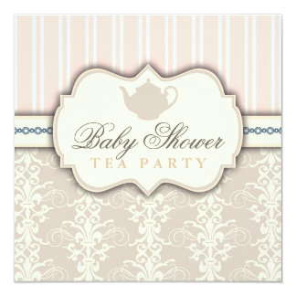 Chic Damask Vintage Baby Shower Tea Invitation