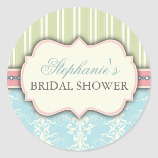 Chic Damask Vintage Bridal Shower Favour Sticker