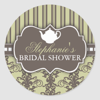 Chic Damask Vintage Bridal Shower Tea Sticker