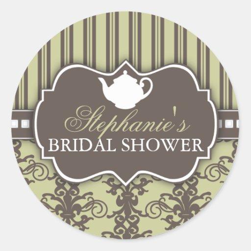 Chic Damask Vintage Bridal Shower Tea Sticker