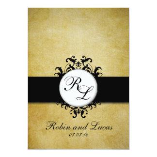 "Chic Damask Vintage Monogram Wedding Invitation 5"" X 7"" Invitation Card"