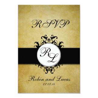 Chic Damask Vintage Monogram Wedding RSCP Card