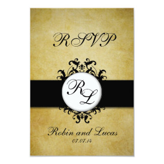 "Chic Damask Vintage Monogram Wedding RSCP Card 3.5"" X 5"" Invitation Card"