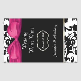 Chic Damask Wedding Wine Bottle Stickers