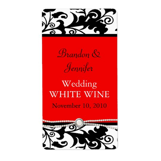 Chic Damask Wedding Wine Labels