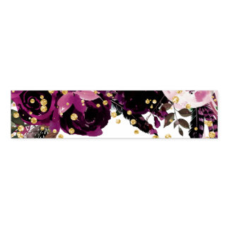 Chic Dark Purple Floral & Gold Confetti Wedding Napkin Band