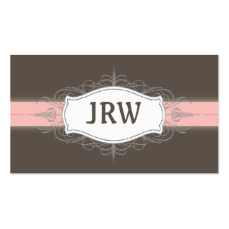 Chic Deco Frame Monogram Baby Pink Business Card