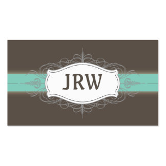 Chic Deco Frame Monogram Teal Business Card