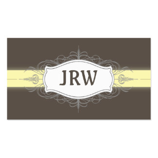 Chic Deco Frame Monogram Yellow Business Card