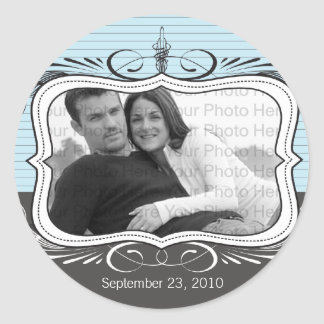 Chic Deco Save the Date Announcement Seal: powder Round Sticker