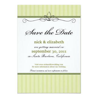 Chic Deco Save the Date (lime green) 13 Cm X 18 Cm Invitation Card