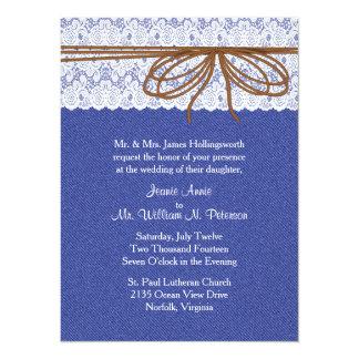 Chic Denim and Lace Wedding Invitation