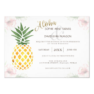 Chic Destination Aloha Tropical Beach Wedding Card