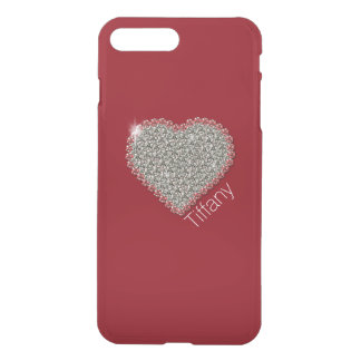 Chic Diamond Heart Custom Red iPhone 7 Plus Case