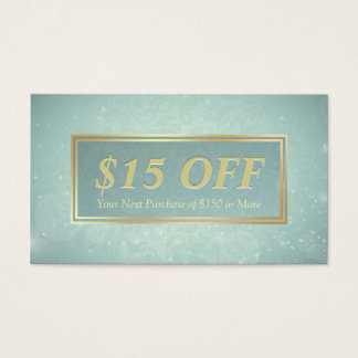 Chic Discount Coupon Makeup Beauty Salon Blue Gold Business Card
