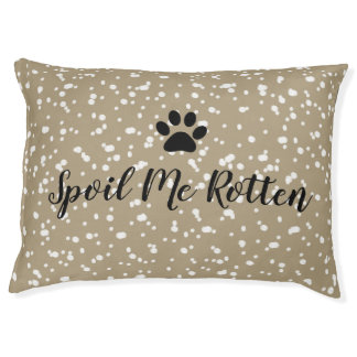 """CHIC DOG BED_""""SPOIL ME ROTTEN""""  TAN STRIPES PET BED"""