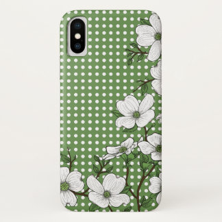 Chic Dogwood Blossoms & Polka Dot Pattern iPhone X Case