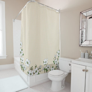 Chic Dogwood Blossoms & Polka Dots Shower Curtain
