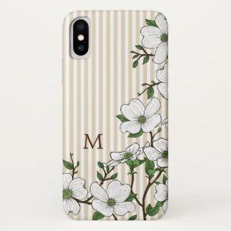 Chic Dogwood Blossoms & Stripes Monogram iPhone X Case