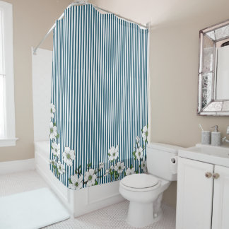 Chic Dogwood Blossoms & Stripes Shower Curtain