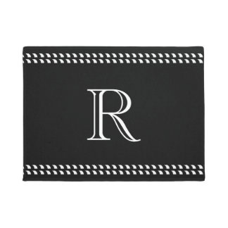 CHIC DOOR MAT_WHITE MONOGRAM ON BLACK DOORMAT