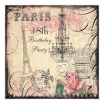 Chic Eiffel Tower & Chandelier 18th Birthday Personalized Invitation