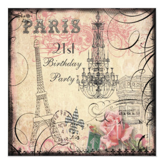 Chic Eiffel Tower & Chandelier 21st Birthday 13 Cm X 13 Cm Square Invitation Card