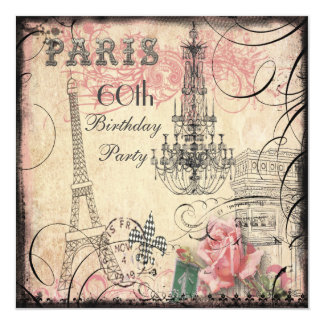 Chic Eiffel Tower & Chandelier 60th Birthday 13 Cm X 13 Cm Square Invitation Card