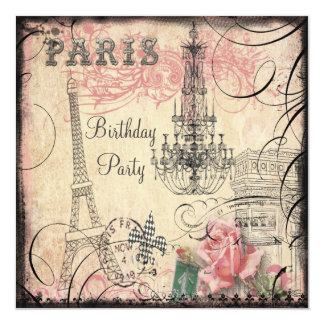 Chic Eiffel Tower & Chandelier Any Age Birthday 13 Cm X 13 Cm Square Invitation Card