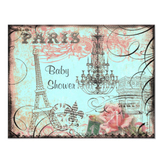 Chic Eiffel Tower & Chandelier Baby Shower 11 Cm X 14 Cm Invitation Card