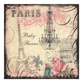 Chic Eiffel Tower & Chandelier Baby Shower 13 Cm X 13 Cm Square Invitation Card