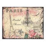 Chic Eiffel Tower & Chandelier Bridal Shower 11 Cm X 14 Cm Invitation Card