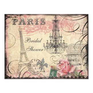 Chic Eiffel Tower & Chandelier Bridal Shower 11 Cm X 14 Cm Invitation Card
