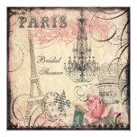 Chic Eiffel Tower & Chandelier Bridal Shower 13 Cm X 13 Cm Square Invitation Card