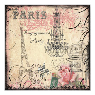 Chic Eiffel Tower & Chandelier Engagement Party Card