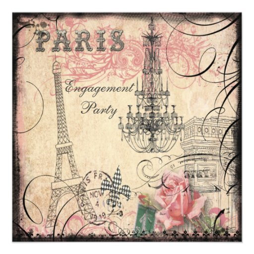 Chic Eiffel Tower & Chandelier Engagement Party Personalized Announcement