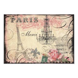 Chic Eiffel Tower & Chandelier Merci Card