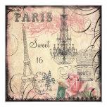 Chic Eiffel Tower & Chandelier Sweet 16 Invites