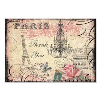 Chic Eiffel Tower & Chandelier Thank You 9 Cm X 13 Cm Invitation Card
