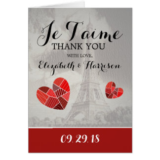 Chic Eiffel Tower Je T'aime Wedding Thank You Card