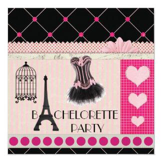 Chic Eiffel Tower Pink Paris Bachelorette Party Card