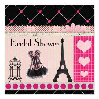 Chic Eiffel Tower Pink Paris Bridal Shower Invite