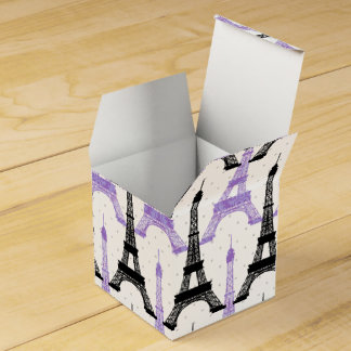 chic Eiffel tower Purple Personalized favor boxes