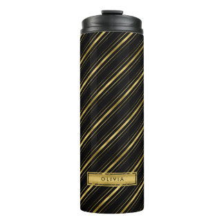 Chic Elegant Black and Faux Gold Stripes Monogram Thermal Tumbler