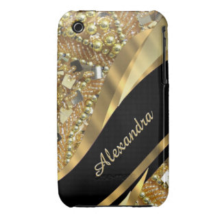 Chic elegant black and gold bling personalized iPhone 3 Case-Mate cases